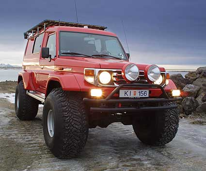Ragnar uses a specially modified super jeep (a Toyota Land Cruiser with 44""